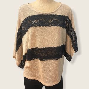 A'REVE knit dolman top with lace large
